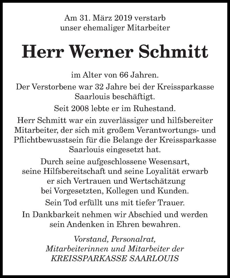Traueranzeige für Werner Schmitt vom 15.04.2019 aus saarbruecker_zeitung