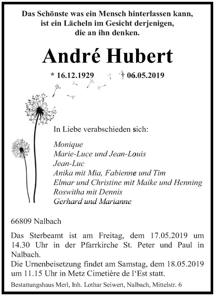Traueranzeige für André Hubert vom 15.05.2019 aus saarbruecker_zeitung