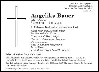 Traueranzeige für Angelika Bauer vom 15.05.2019 aus saarbruecker_zeitung