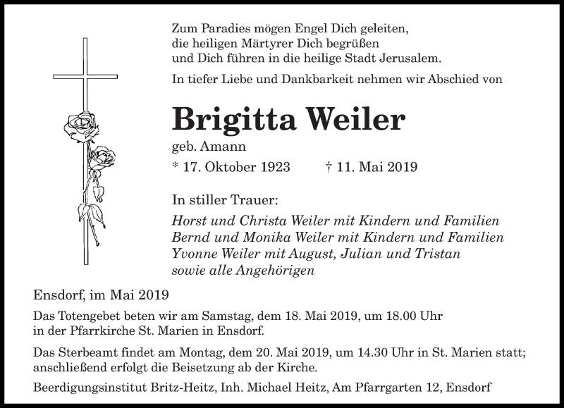 Traueranzeige für Brigitta Weiler vom 15.05.2019 aus saarbruecker_zeitung