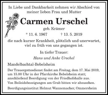 Traueranzeige für Carmen Urschel vom 15.05.2019 aus saarbruecker_zeitung
