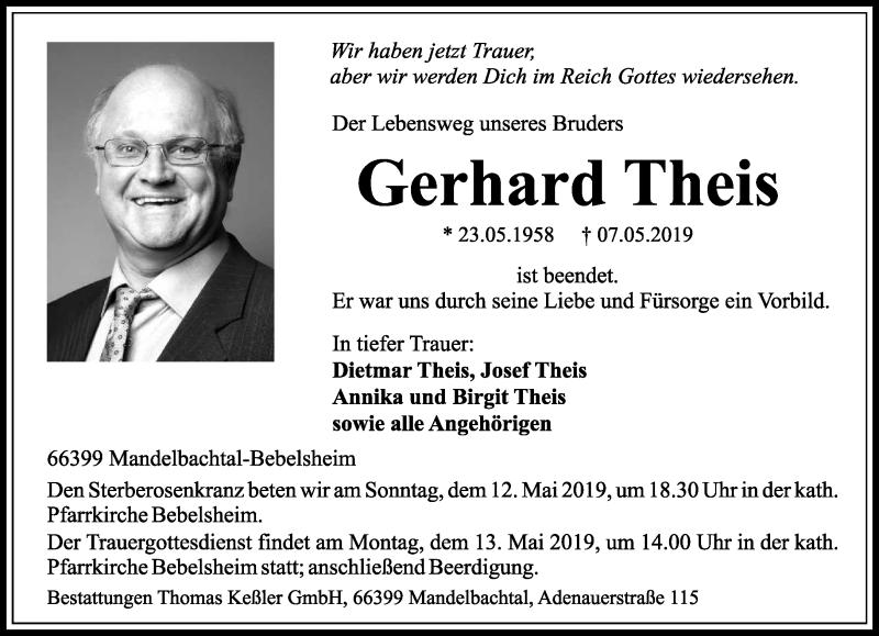 Traueranzeige für Gerhard Theis vom 11.05.2019 aus saarbruecker_zeitung