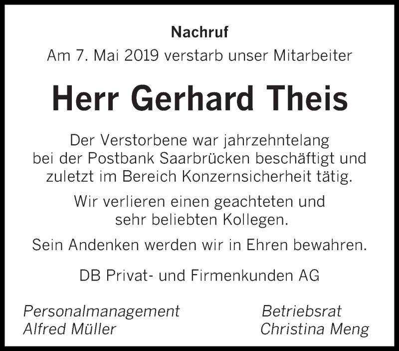 Traueranzeige für Gerhard Theis vom 15.05.2019 aus saarbruecker_zeitung