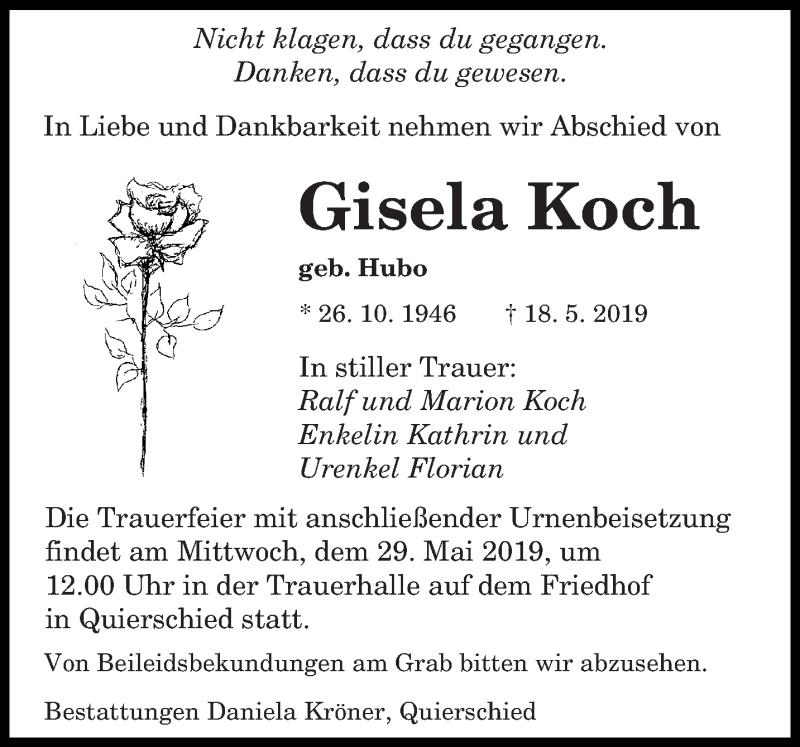 Traueranzeige für Gisela Koch vom 25.05.2019 aus saarbruecker_zeitung