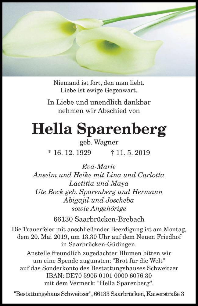 Traueranzeige für Hella Sparenberg vom 15.05.2019 aus saarbruecker_zeitung