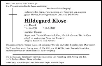 Traueranzeige für Hildegard Klose vom 15.05.2019 aus saarbruecker_zeitung