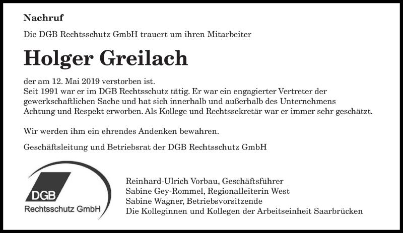 Traueranzeige für Holger Greilach vom 18.05.2019 aus saarbruecker_zeitung