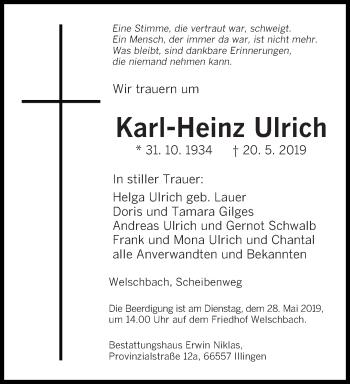 Traueranzeige für Karl-Heinz Ulrich vom 25.05.2019 aus saarbruecker_zeitung