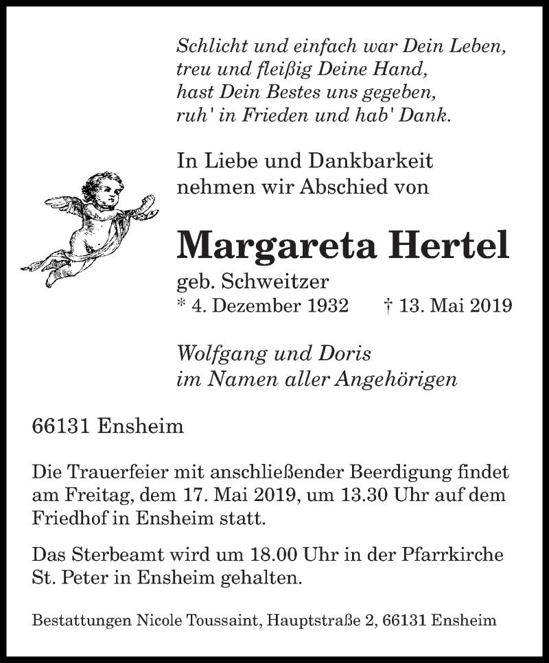 Traueranzeige für Margareta Hertel vom 15.05.2019 aus saarbruecker_zeitung