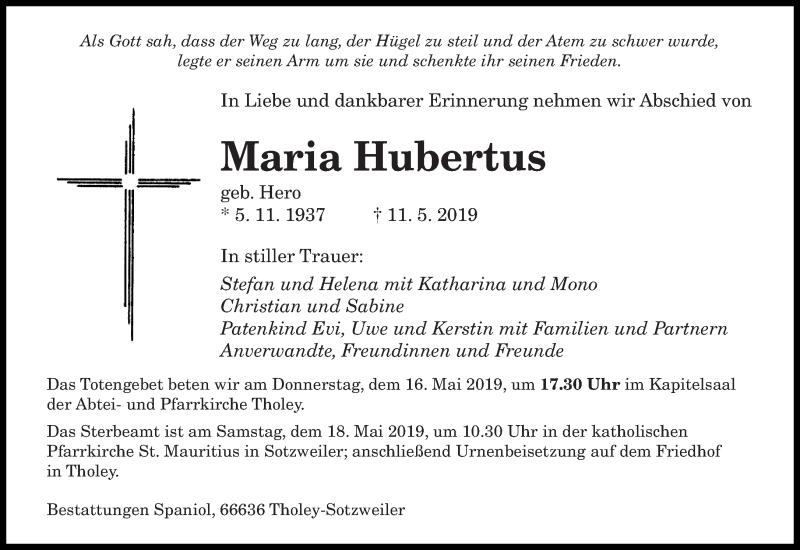 Traueranzeige für Maria Hubertus vom 15.05.2019 aus saarbruecker_zeitung