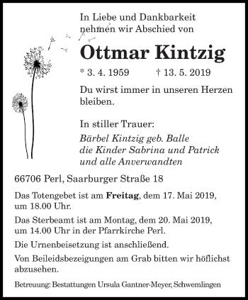Traueranzeige für Ottmar Kintzig vom 15.05.2019 aus saarbruecker_zeitung
