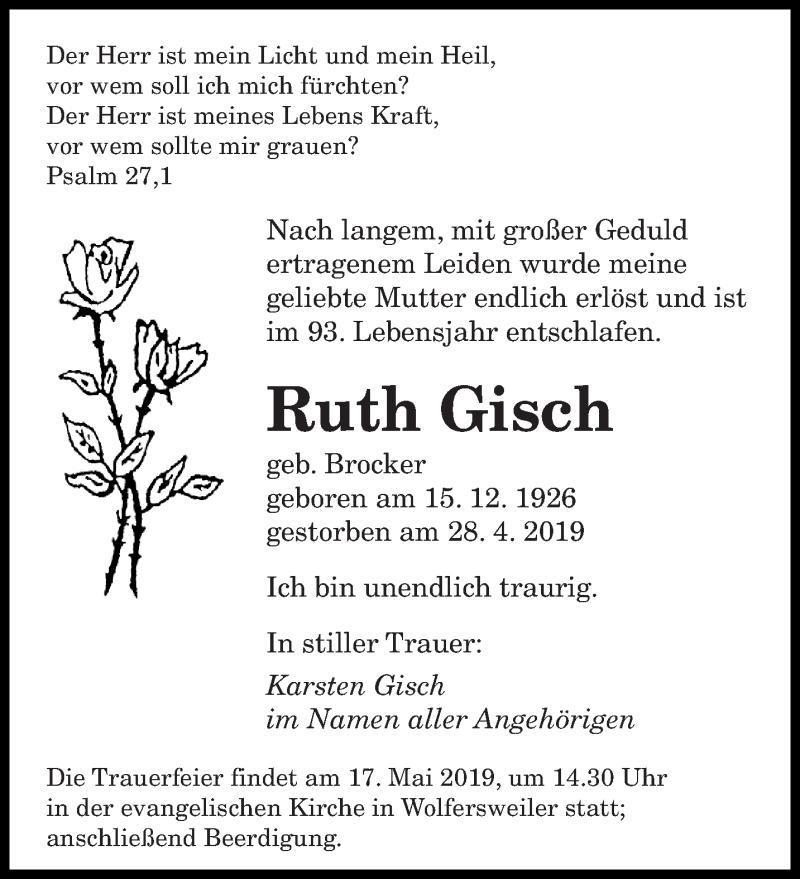 Traueranzeige für Ruth Gisch vom 15.05.2019 aus saarbruecker_zeitung