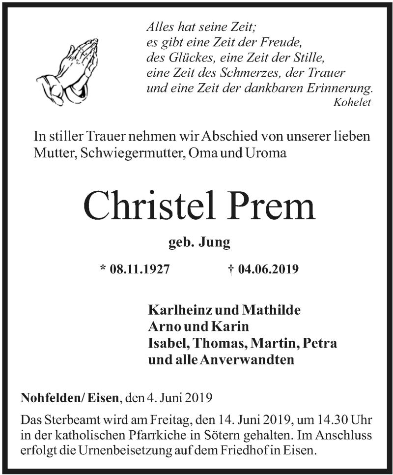 Traueranzeige für Christel Prem vom 12.06.2019 aus saarbruecker_zeitung