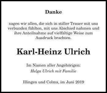Traueranzeige für Karl-Heinz Ulrich vom 12.06.2019 aus saarbruecker_zeitung
