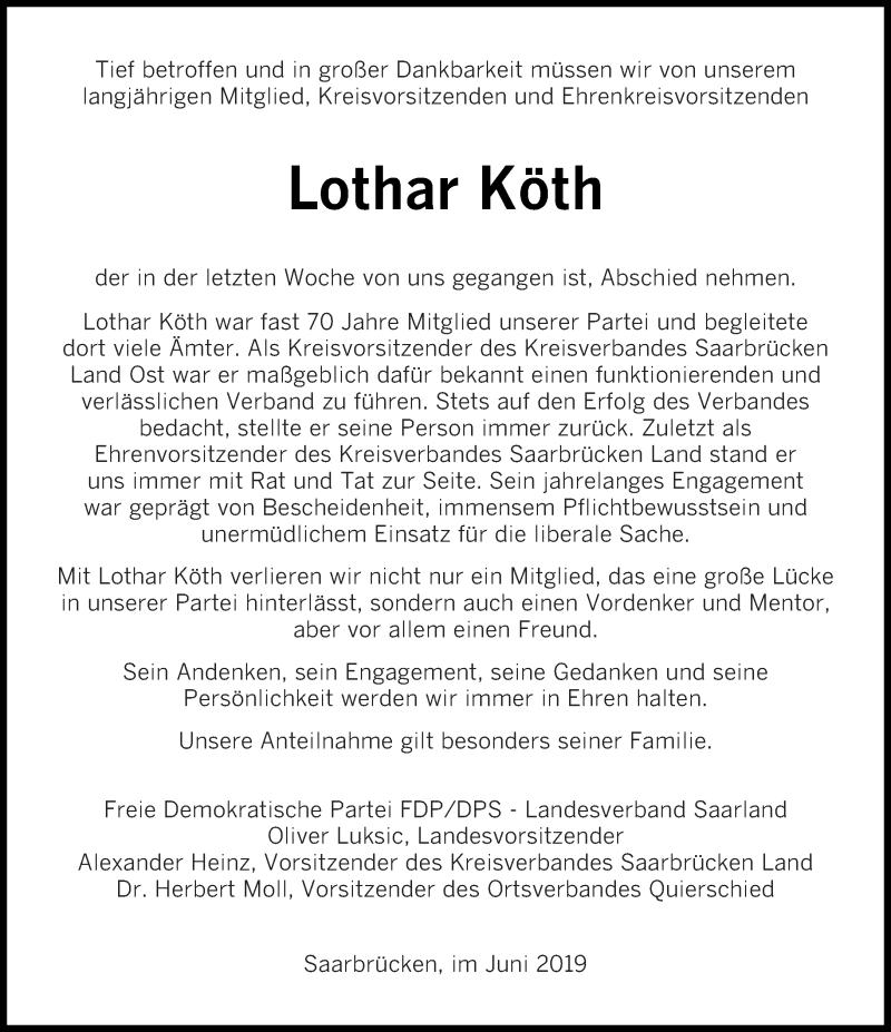Traueranzeige für Lothar Köth vom 29.06.2019 aus saarbruecker_zeitung