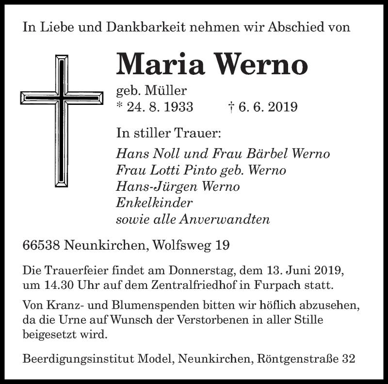Traueranzeige für Maria Werno vom 12.06.2019 aus saarbruecker_zeitung