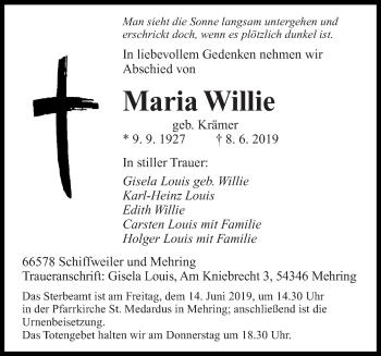Traueranzeige für Maria Willie vom 12.06.2019 aus saarbruecker_zeitung