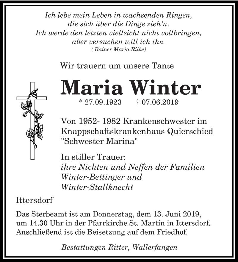 Traueranzeige für Maria Winter vom 12.06.2019 aus saarbruecker_zeitung