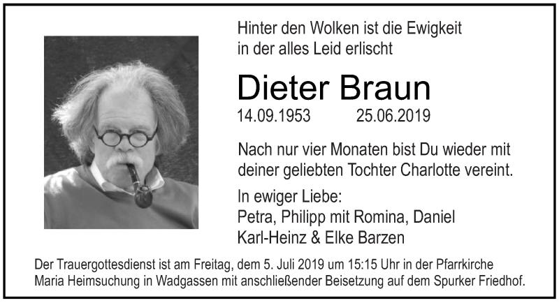 Traueranzeige für Dieter Braun vom 02.07.2019 aus saarbruecker_zeitung