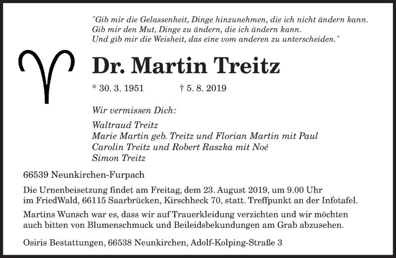 Traueranzeigen Von Martin Treitz