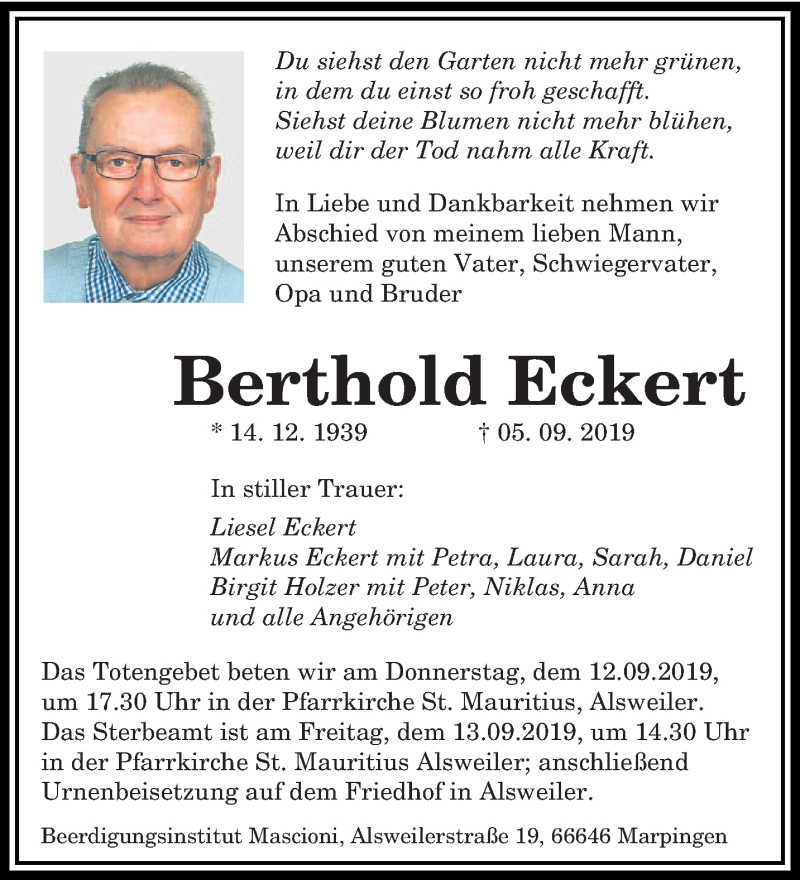 Traueranzeige für Berthold Eckert vom 10.09.2019 aus saarbruecker_zeitung