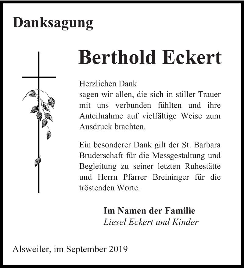 Traueranzeige für Berthold Eckert vom 28.09.2019 aus saarbruecker_zeitung