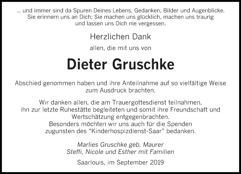 Traueranzeige für Dieter Gruschke vom 28.09.2019 aus saarbruecker_zeitung