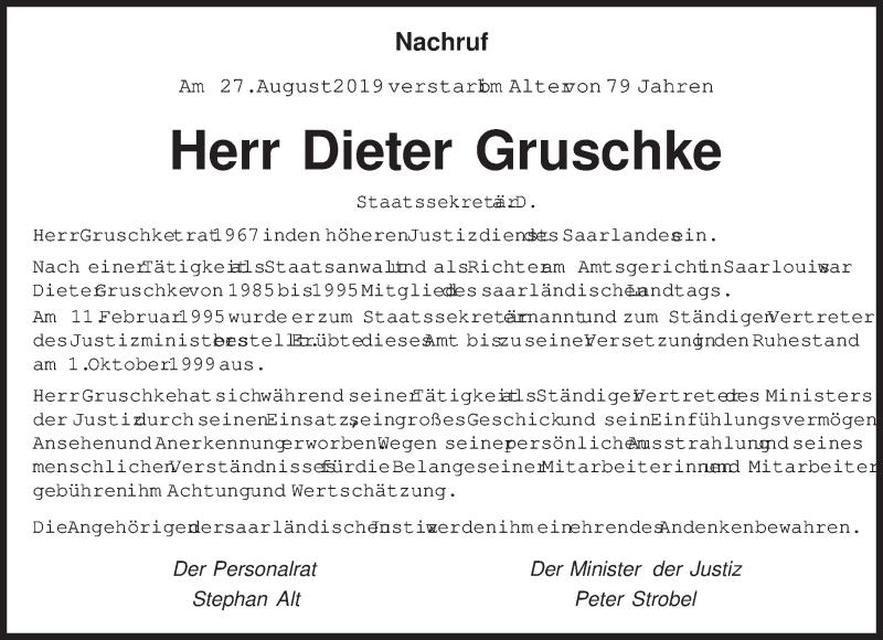 Traueranzeige für Dieter Gruschke vom 03.09.2019 aus saarbruecker_zeitung
