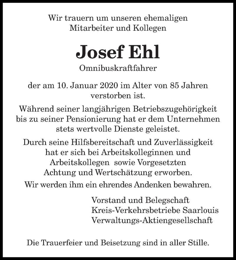Traueranzeige für Josef Ehl vom 14.01.2020 aus saarbruecker_zeitung