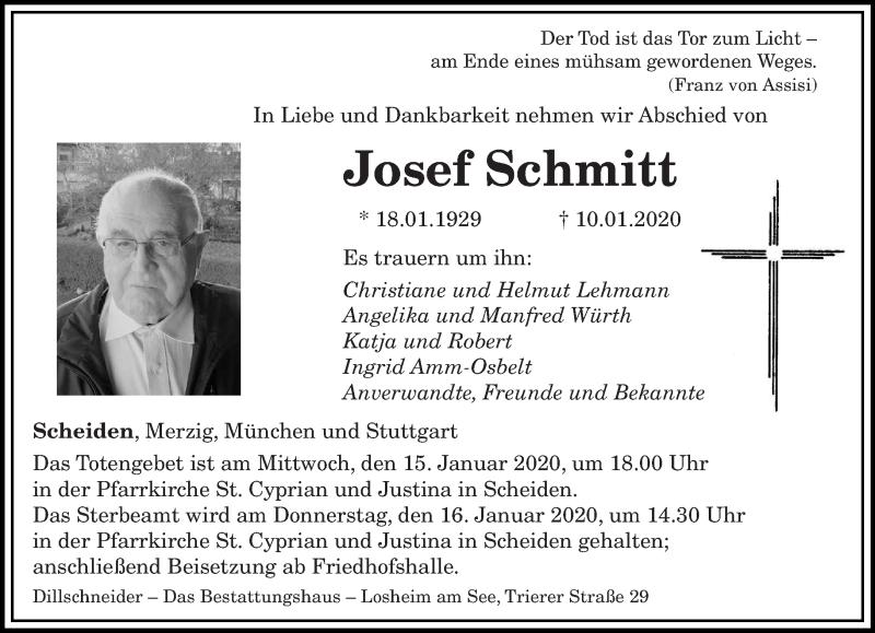 Traueranzeige für Josef Schmitt vom 14.01.2020 aus saarbruecker_zeitung