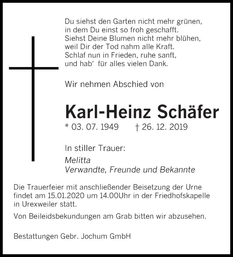 Traueranzeige für Karl-Heinz Schäfer vom 13.01.2020 aus saarbruecker_zeitung