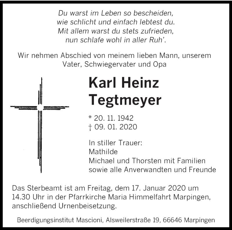 Traueranzeige für Karl Heinz Tegtmeyer vom 14.01.2020 aus saarbruecker_zeitung