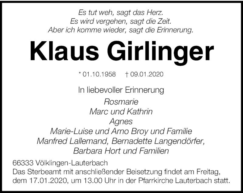 Traueranzeige für Klaus Girlinger vom 14.01.2020 aus saarbruecker_zeitung