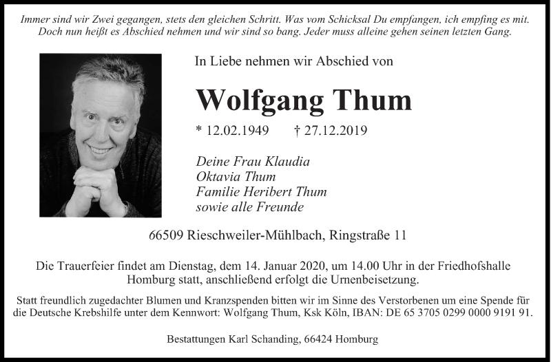 Traueranzeige für Wolfgang Thum vom 09.01.2020 aus saarbruecker_zeitung