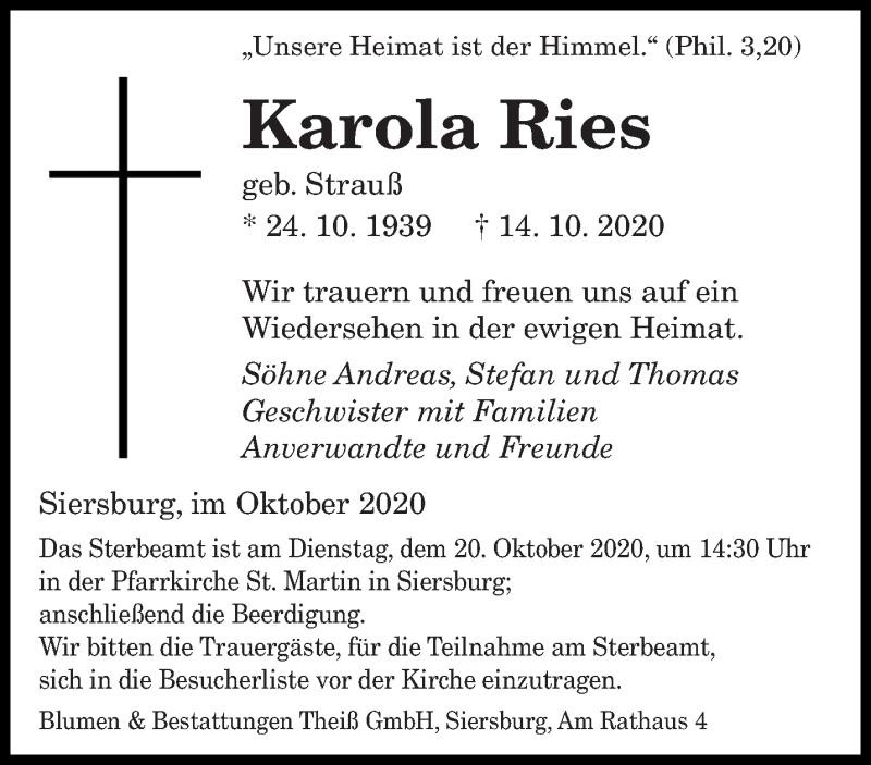 Traueranzeige für Karola Ries vom 17.10.2020 aus saarbruecker_zeitung