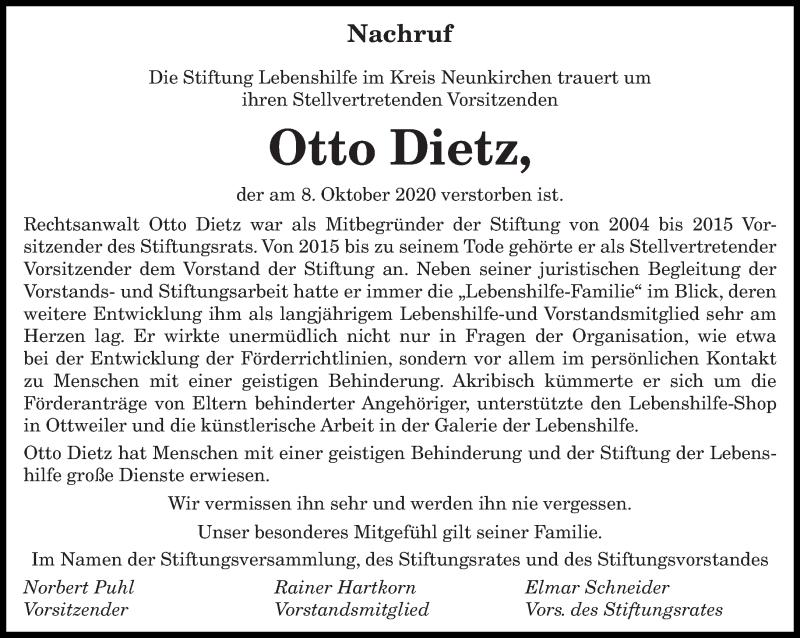Traueranzeige für Otto Dietz vom 19.10.2020 aus saarbruecker_zeitung