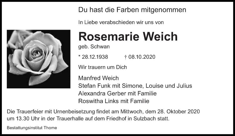 Traueranzeige für Rosemarie Weich vom 17.10.2020 aus saarbruecker_zeitung