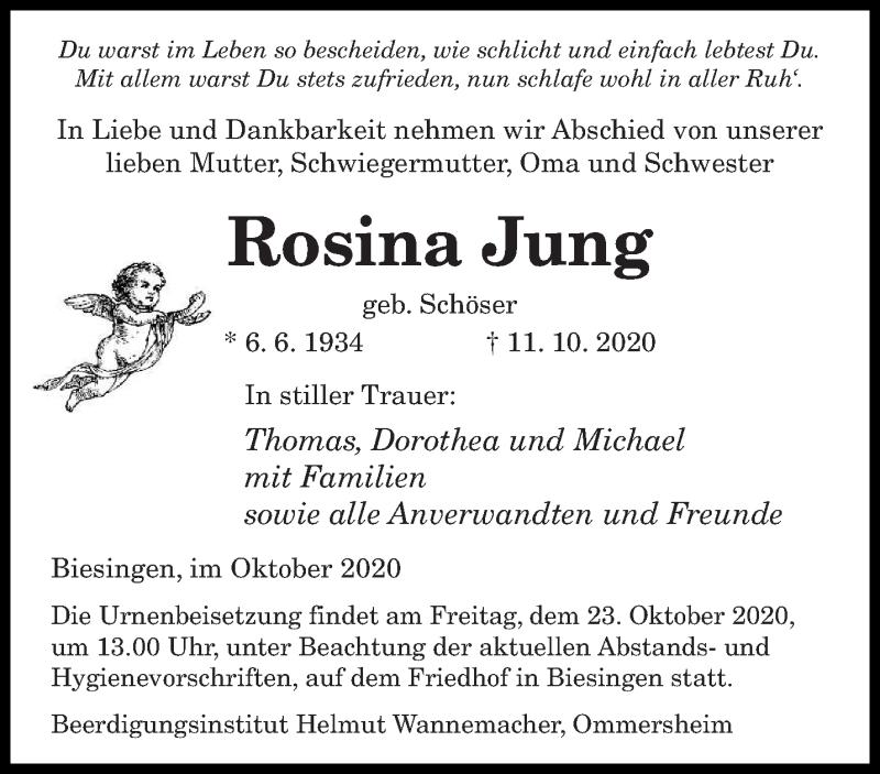 Traueranzeige für Rosina Jung vom 17.10.2020 aus saarbruecker_zeitung