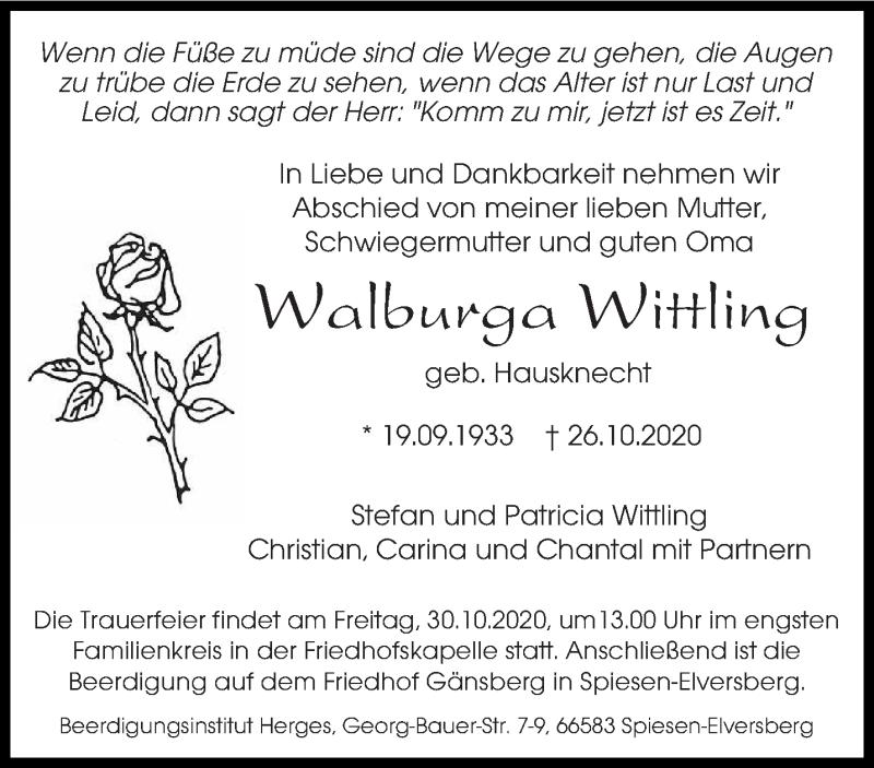 Traueranzeige für Walburga Wittling vom 28.10.2020 aus saarbruecker_zeitung