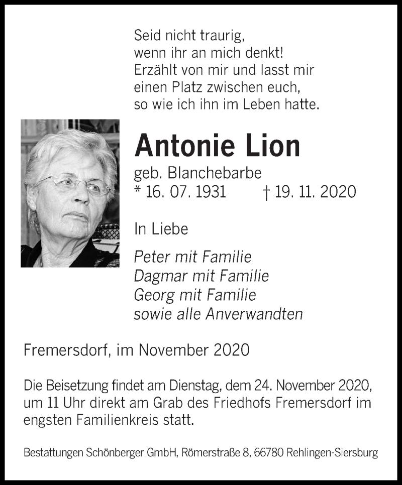 Traueranzeige für Antonie Lion vom 21.11.2020 aus saarbruecker_zeitung