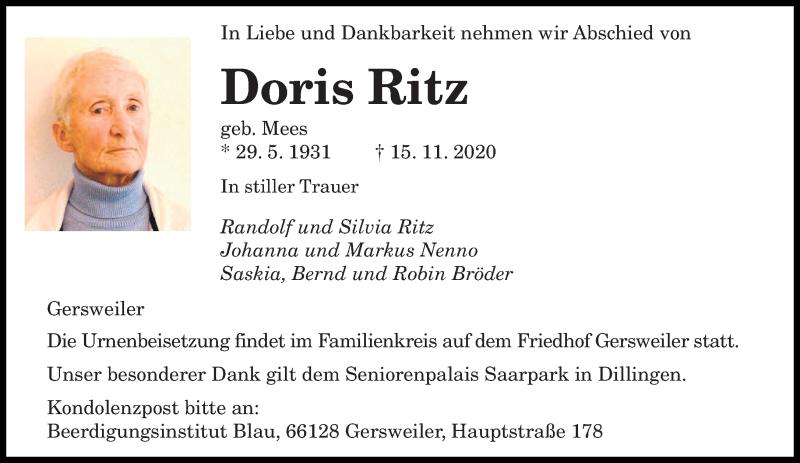 Traueranzeige für Doris Ritz vom 21.11.2020 aus saarbruecker_zeitung