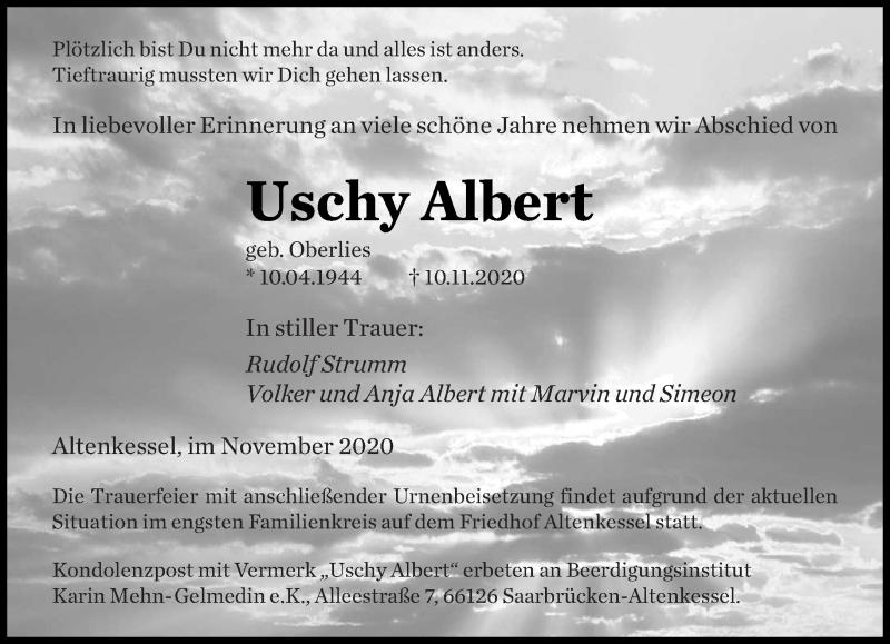 Traueranzeige für Uschy Albert vom 21.11.2020 aus saarbruecker_zeitung
