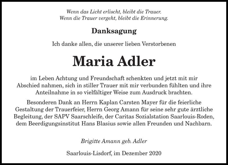 Traueranzeige für Maria Adler vom 19.12.2020 aus saarbruecker_zeitung