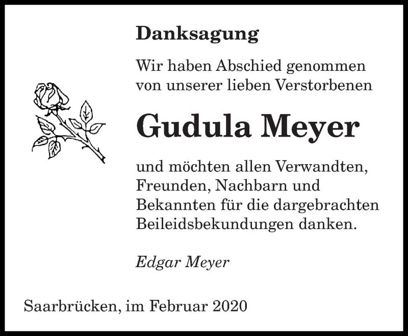 Traueranzeige für Gudula Meyer vom 15.02.2020 aus saarbruecker_zeitung