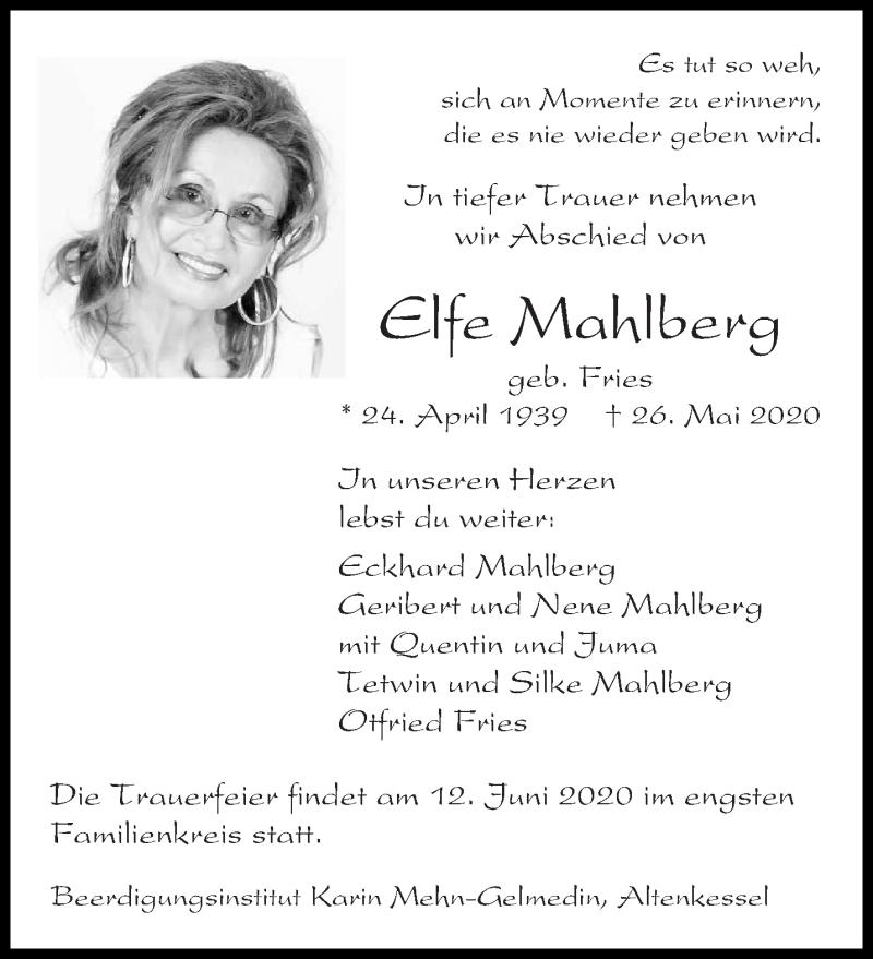 Traueranzeige für Elfe Mahlberg vom 30.05.2020 aus saarbruecker_zeitung