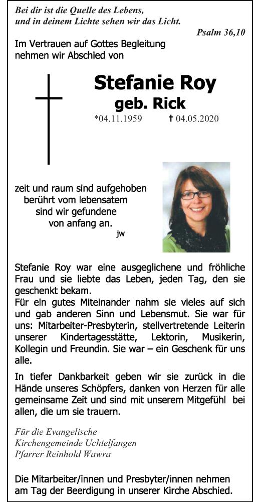 Traueranzeige für Stefanie Roy vom 13.05.2020 aus saarbruecker_zeitung