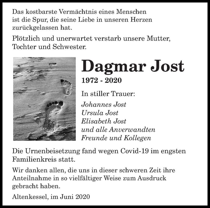 Traueranzeige für Dagmar Jost vom 27.06.2020 aus saarbruecker_zeitung