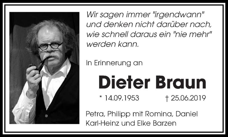 Traueranzeige für Dieter Braun vom 25.06.2020 aus saarbruecker_zeitung