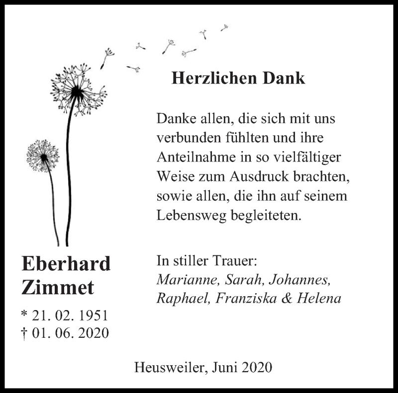 Traueranzeige für Eberhard Zimmet vom 20.06.2020 aus saarbruecker_zeitung