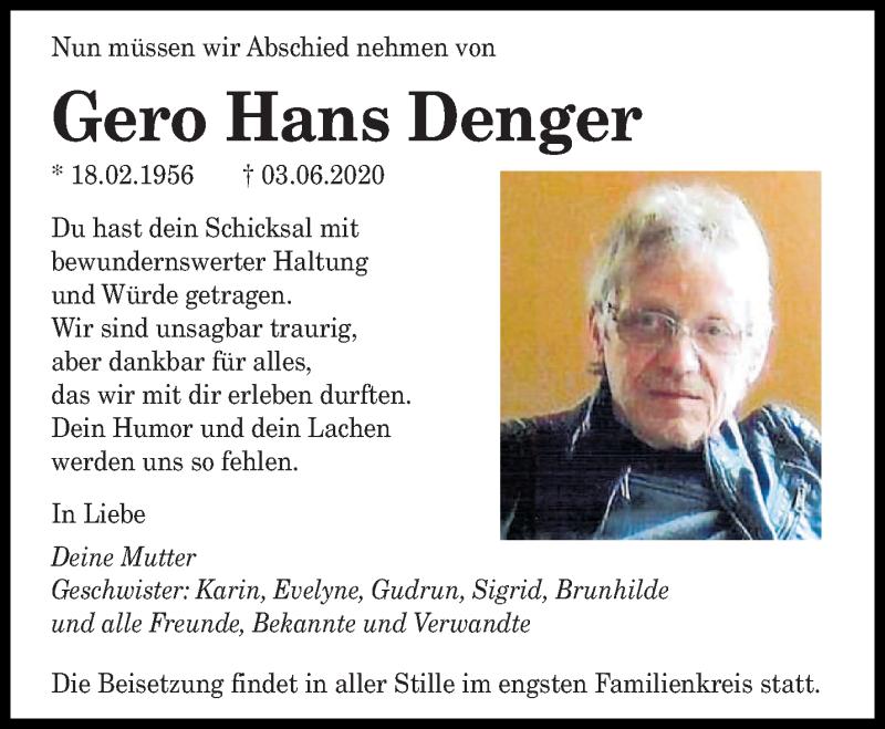 Traueranzeige für Gero Hans Denger vom 20.06.2020 aus saarbruecker_zeitung